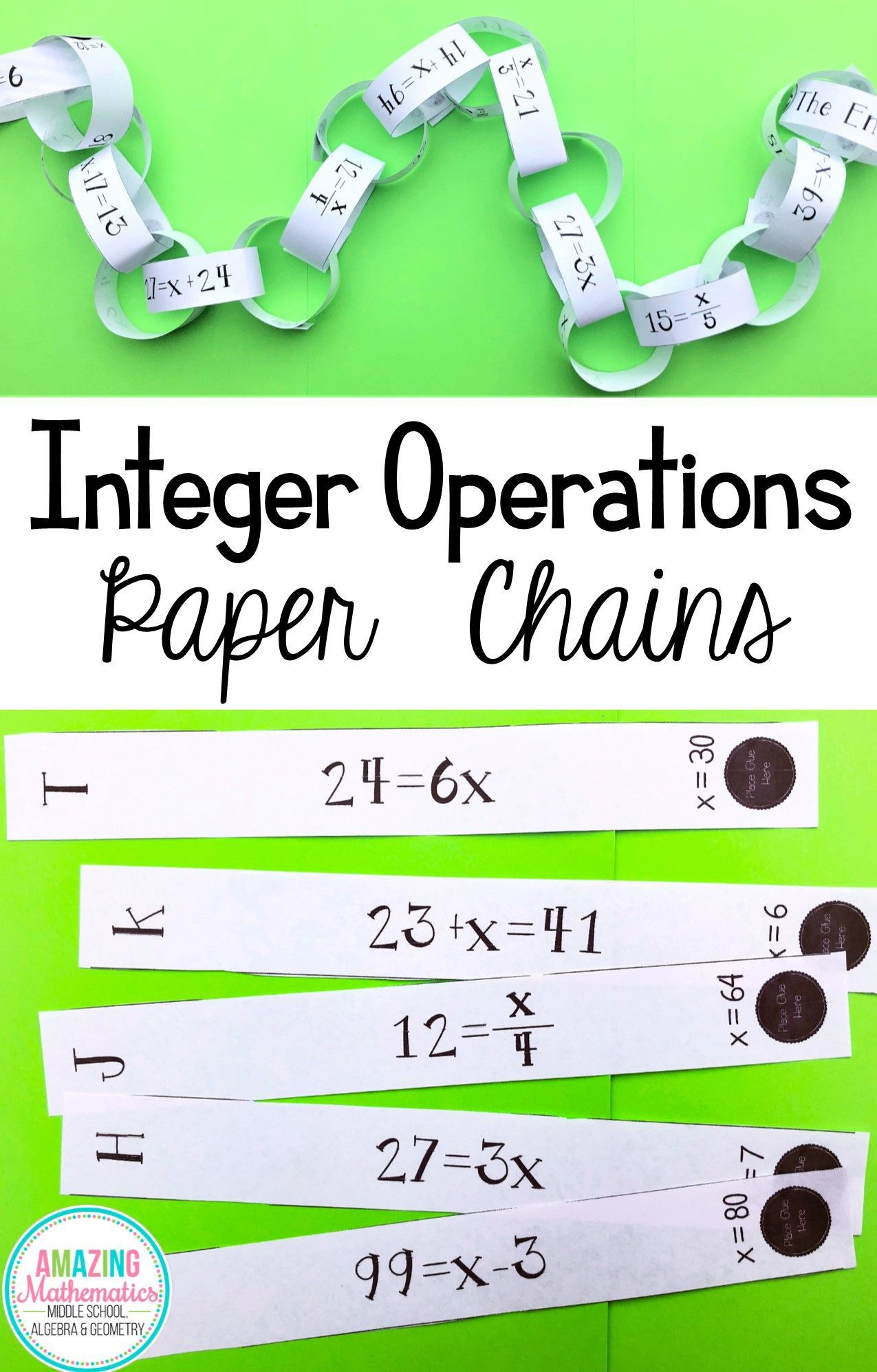 small resolution of Solving One Step Equations - Chain Activity   One step equations
