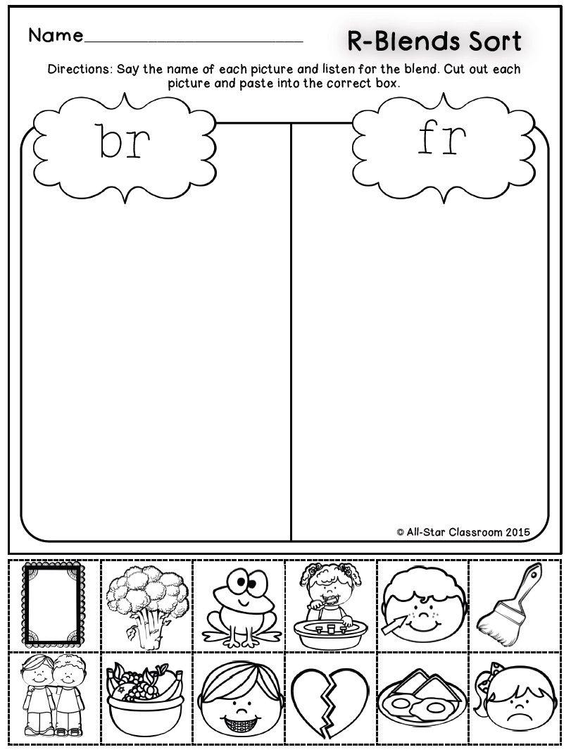 R Blends Picture Sorts Blends Worksheets Phonics Worksheets Consonant Blends Worksheets [ 1068 x 811 Pixel ]