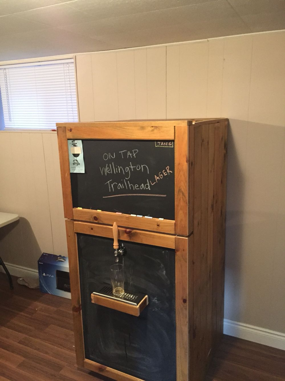 My Diy Kegerator From Old Fridge Used Pine Wood And Chalk