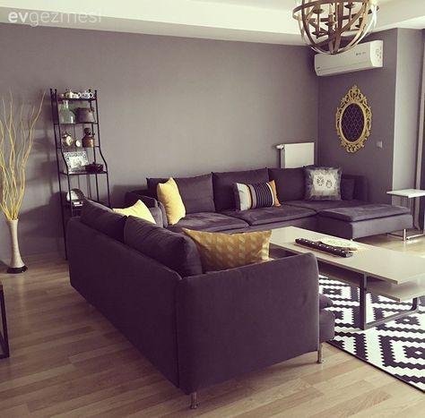 Modern stil mobilyalar, geometrik çizgiler.. Uyumlu ve canlı bir ev! #apartmentgardening