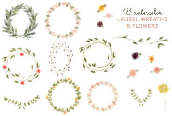 Check Out 18 Watercolor Laurel Wreath Amp Flower By Michl G