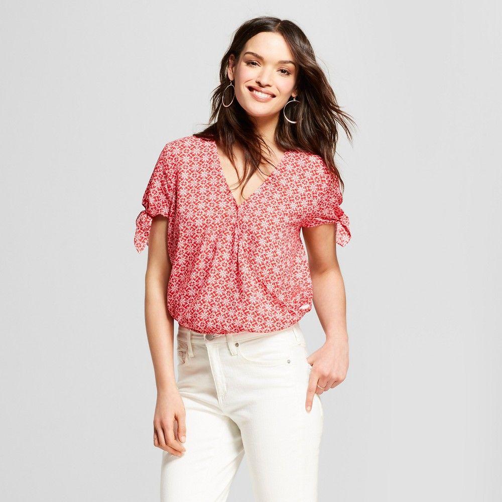 d0350d6f3a9 Women s Short Sleeve Floral Print Wrap Front Top - Universal Thread Red XL