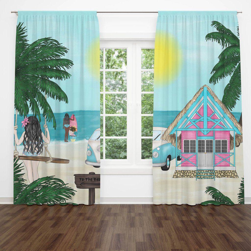 Tropical Beach Blackout Curtains 100 X 84 Mural Window