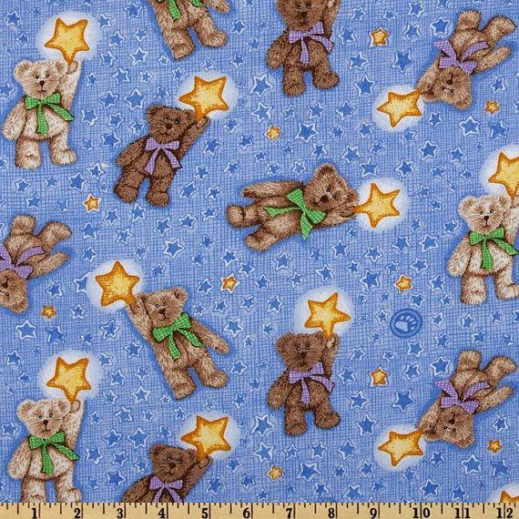 Boyds Bears Fabric Teddy Bears With Yellow Stars On Blue