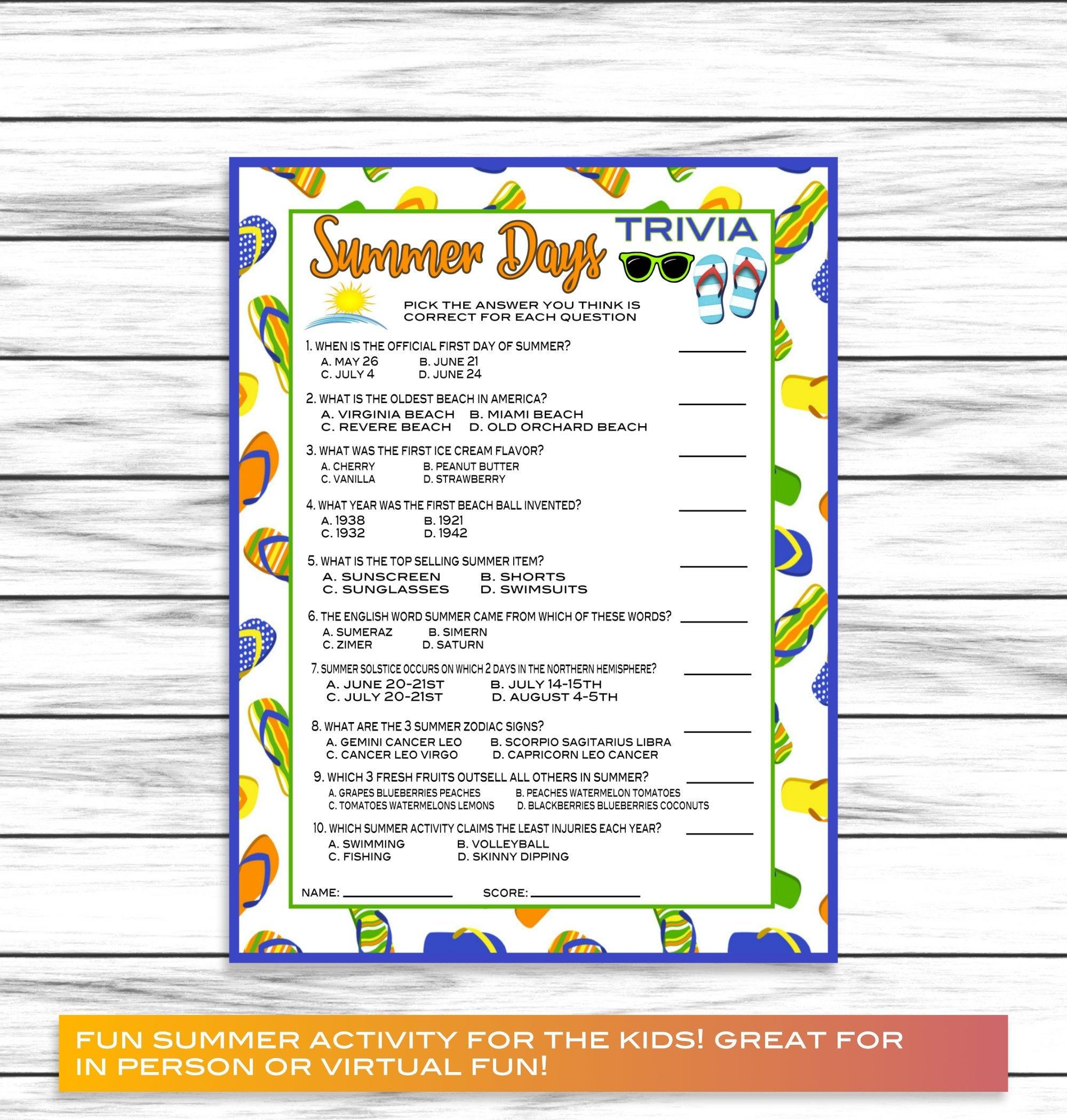 Summer Trivia Game Party Game Family Reunion Party Game Etsy Family Reunion Trivia Family Games