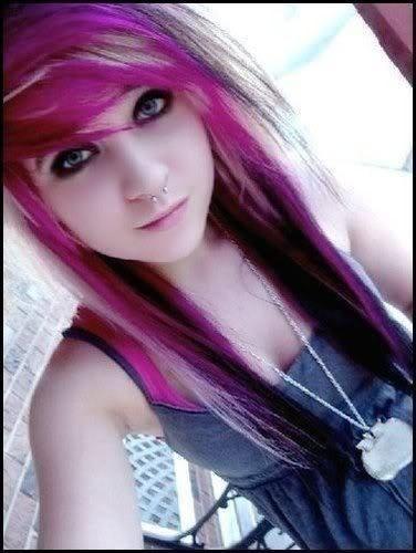 emo hair girls cool pink