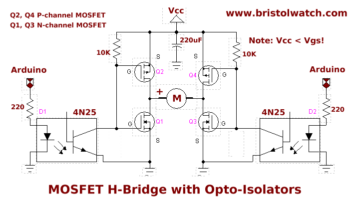 MOSFET H-bridge with opto-isolation  | TestPublic6 in 2019