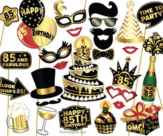 85th Birthday Photo Booth Props DIY Eighty Fifth Party Photobooth Colorful Black