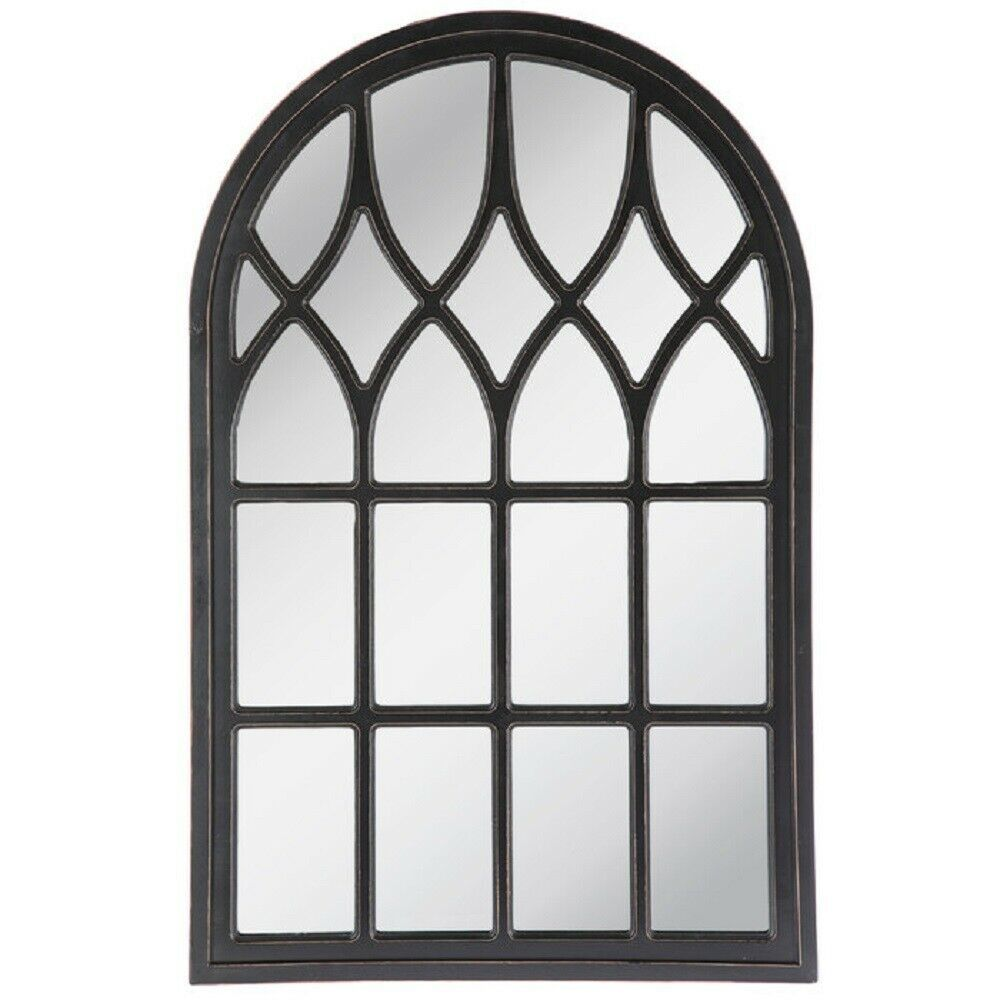 Large Window Pane Mirror Elegant Arched Black Wood Frame Living Room Wall Decor Needfulthings Classic Mirror Wall Mirror Wall Decor Modern Mirror Wall