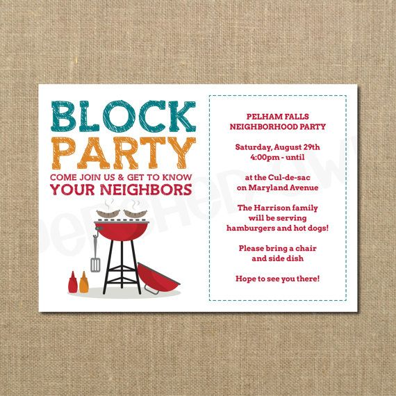 Neighborhood Block Party - Cookout Invitation - Grilling Out ...