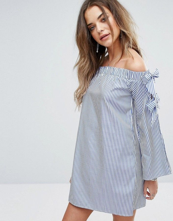 9a4985fe253 boohoo Stripe Off Shoulder Tie Sleeve Shift Dress