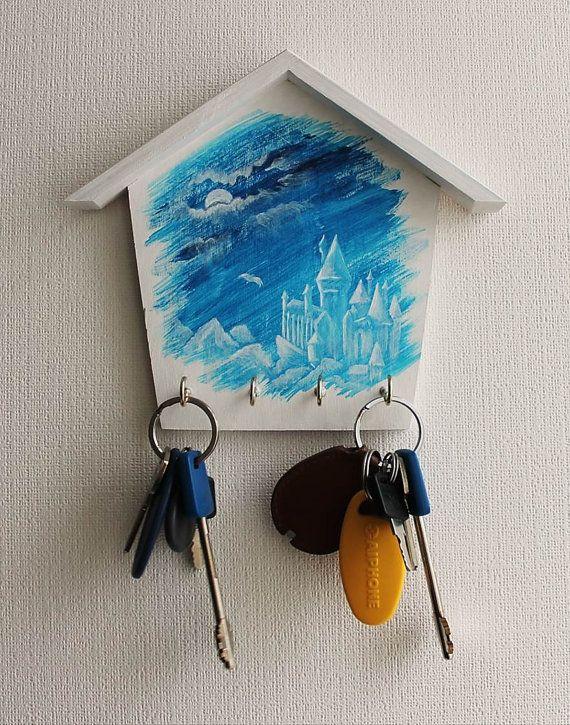 Harry Potter Hogwarts Wooden Wall Key Holder, Key Holder For The Home, Key Organizer, Wizard World Magic, Keepsake Gift Art Rowling JaN:)Art