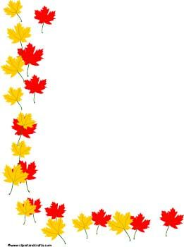 Red And Yellow Maple Leaves Border Paper Clip Art Borders Borders For Paper Poster Background Design