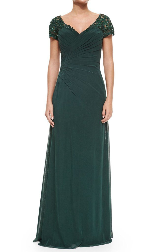 1b065e74a8 MACloth Women Cap Sleeves V Neck Lace Chiffon Long Evening Gown Dark Green  Mother of the Brides Dress