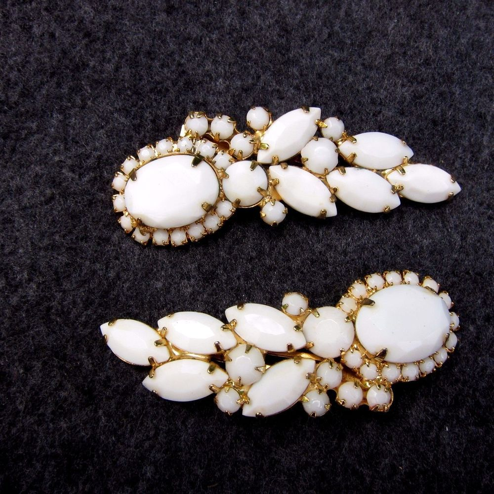 Vintage Hair Clips Milk Glass Cabochons Rhinestones Lady Ellen Pair Set of 2