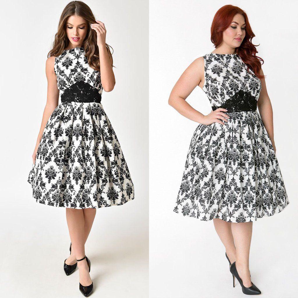 Grey wedding guest dress  Vintage Style Hepburn damask print swing Wedding Guest Dress XS