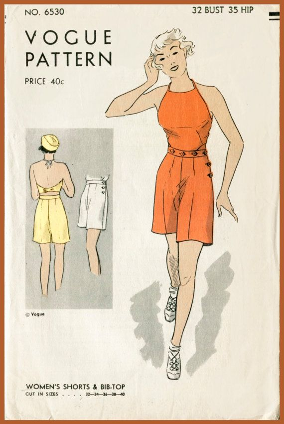 16d8ce1b5ab 30s 1930s repro vintage women s sewing pattern buttoned crop top halter  playsuit shorts beach romper bust 32 b32 reproduction