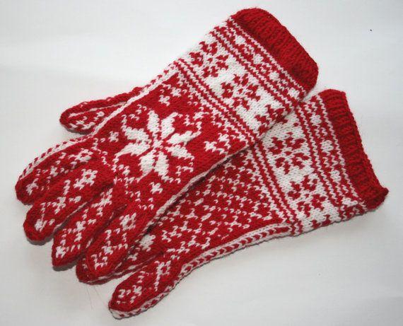 Red Norwegian gloves, Scandinavian gloves, Estonian gloves, Hand ...