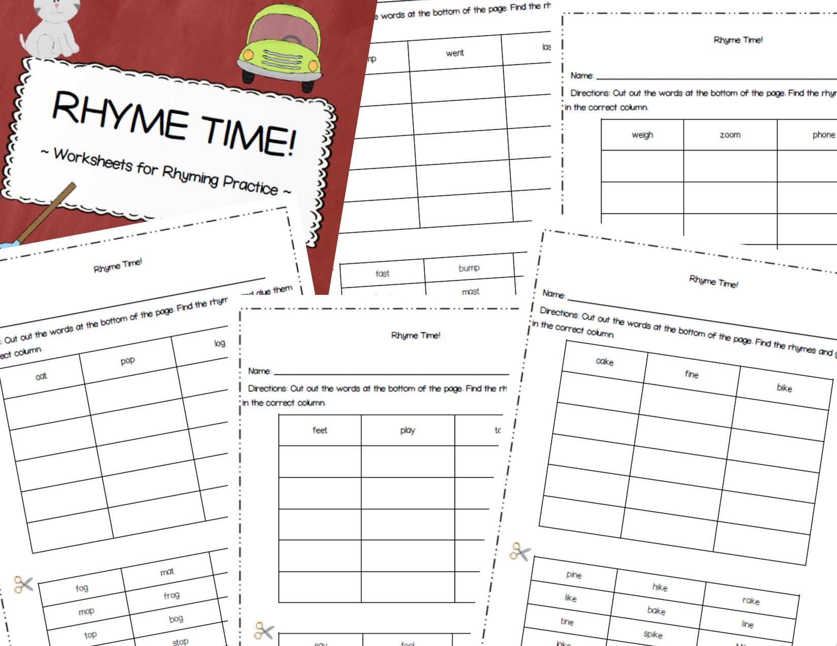 Set Of Cut Amp Glue Worksheets For Rhyming Practice Variety Of Difficulties Included Cvc Rhymes