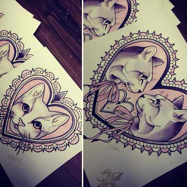 Becca: Heart Frame Tattoo Tattoo Ideas Cat Cameo Tattoo Cat Tattoos ...