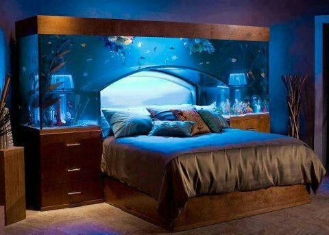 Blue Water Master Bedroom Theme Design With Real Aquarium Interior Idea And  Soft Bedcover Decorations On