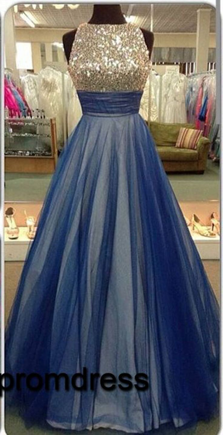 2016 new design cute open back blue tulle long prom dress with top ...
