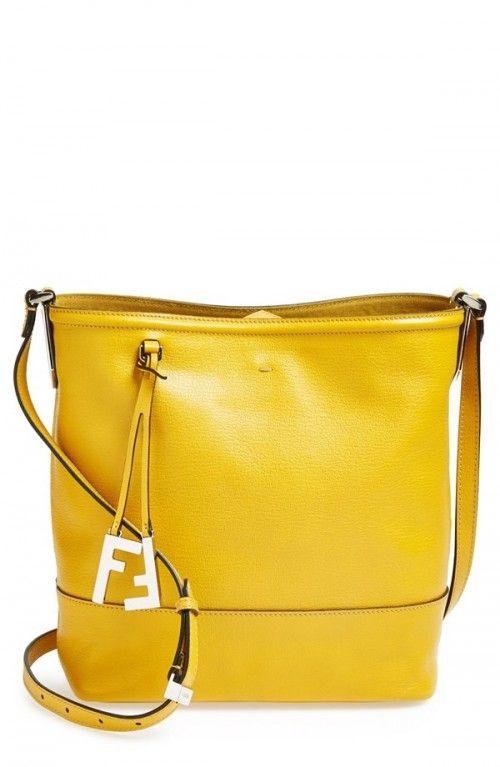 Fendi Women's Leather Bucket Crossbody Bag Girasole Palladio One