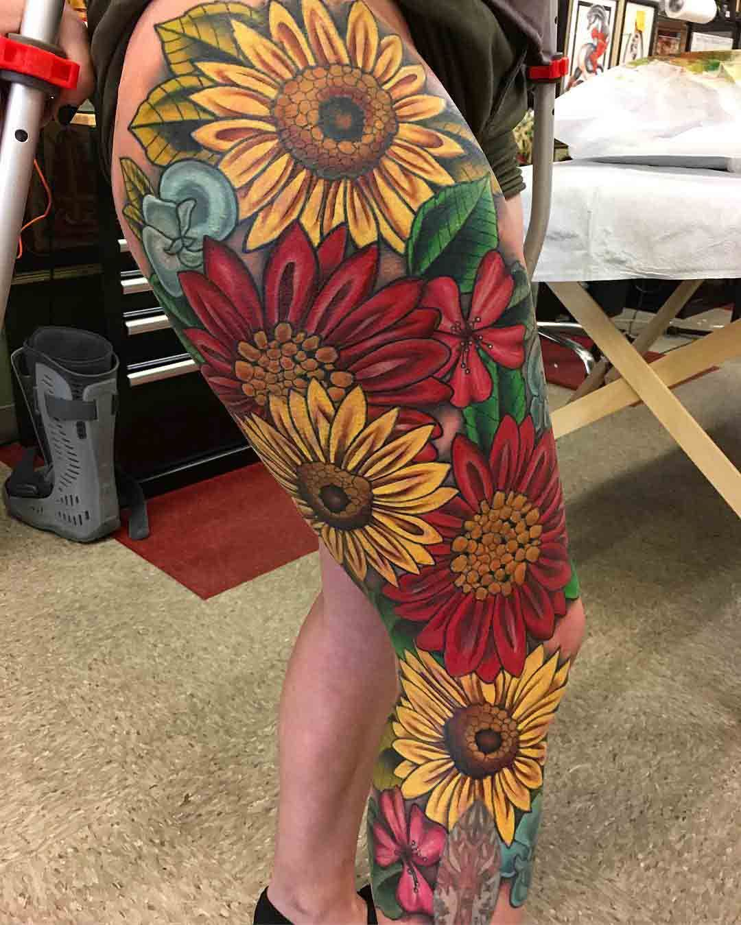 7b68cf85f Full Leg Sleeve Tattoo Flowers | Val | Leg sleeve tattoo, Leg ...