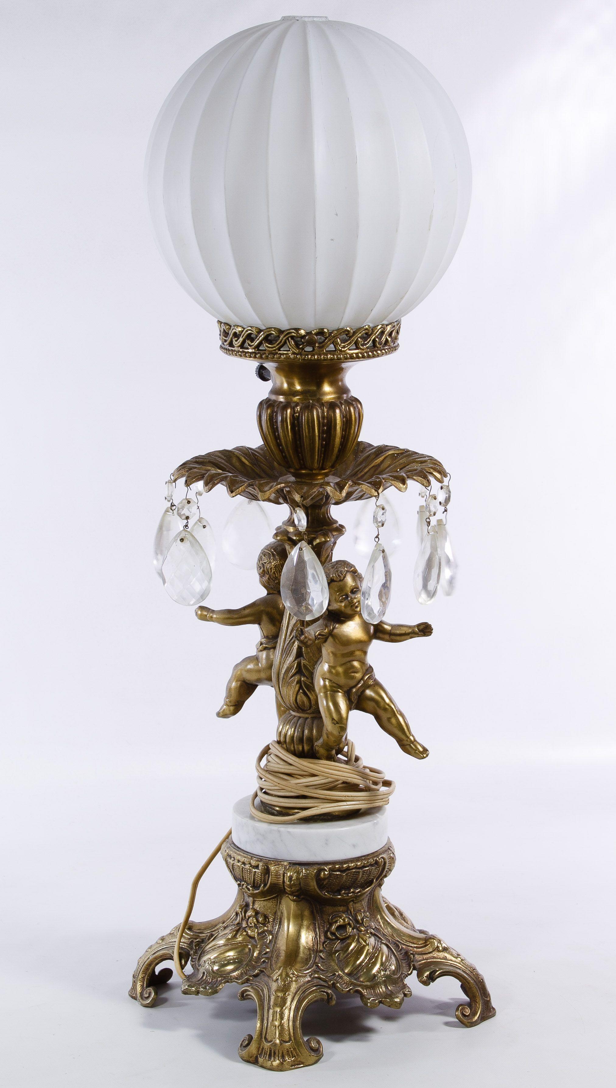 Vintage Gilt Cherub Figure Table Lamp