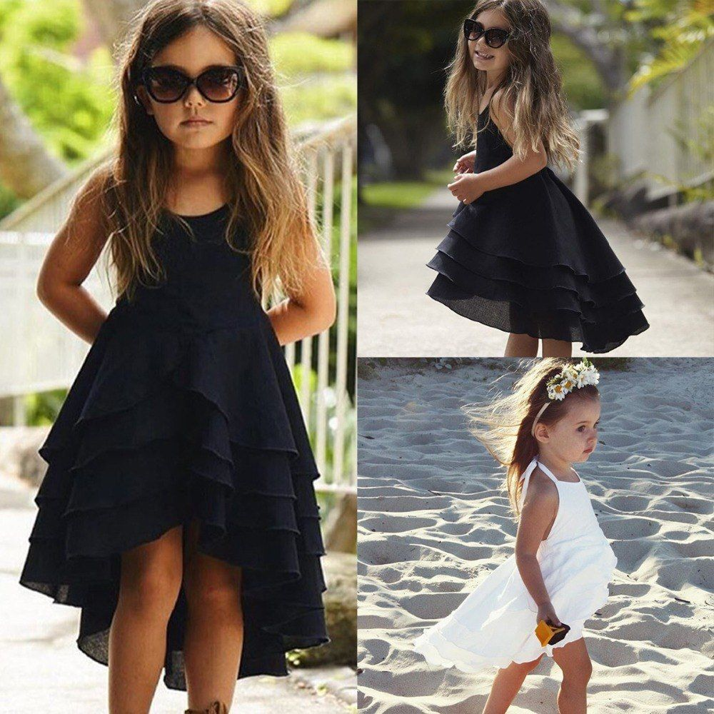 ec4e7de0a46 Kid Baby Girls Clothes Cute Girl Backless Strappy Solid Color Princess Dress  Summer Casual Beach Sundress Children Clothing Set