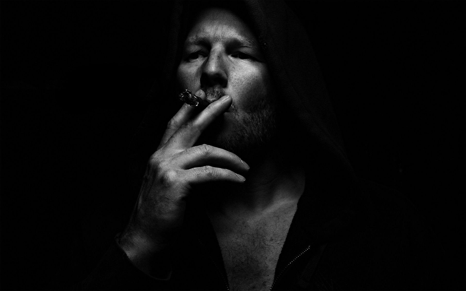 Smoking Men Grayscale Black Background