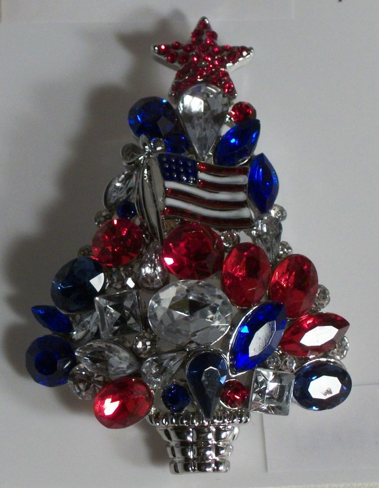 Silver Plate Christmas Tree Pin Brooch Red Blue Crystals Enamel