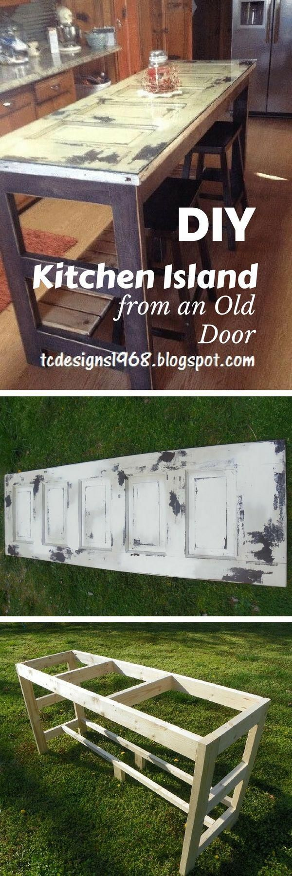15 Easy DIY Kitchen Islands That You Can Build on a Budget - how to build a #DIY kitchen island from an old door #homedecor #diykitchencabinets