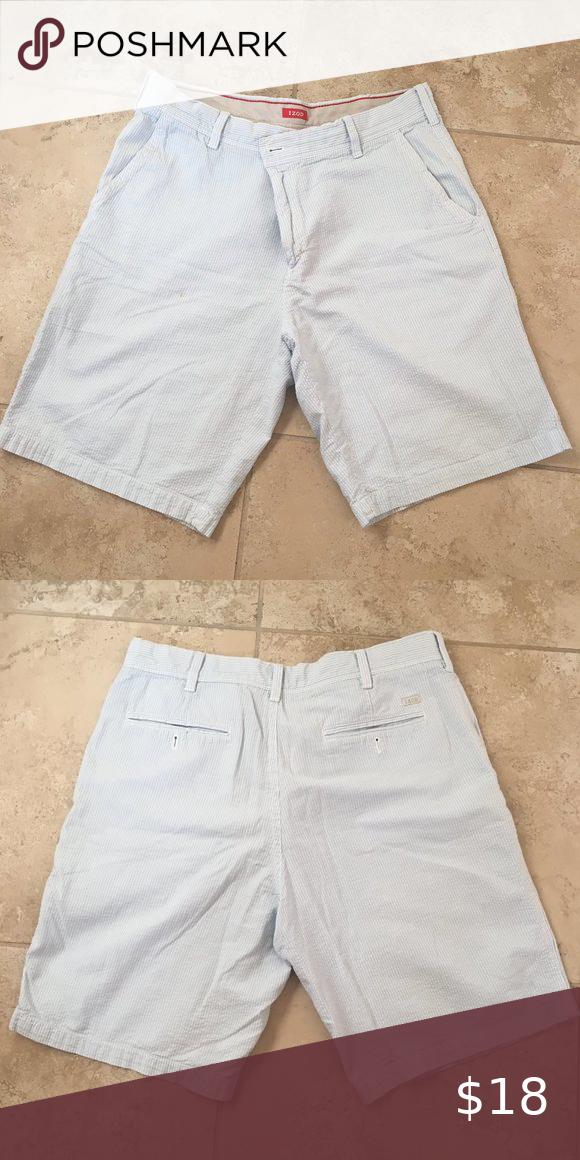 Izod Blue /& White Stripe Seersucker Flat Front Cotton Casual Shorts Men/'s NWT