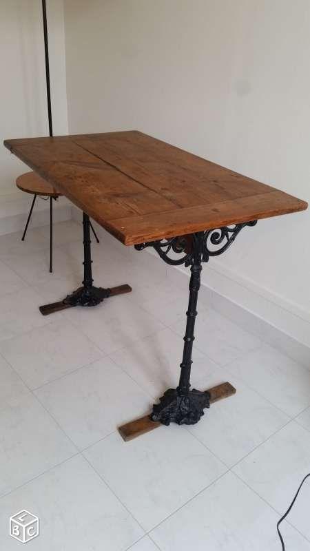 Table de bistrot ancienne en bois et fonte 1900 ameublement paris leboncoin