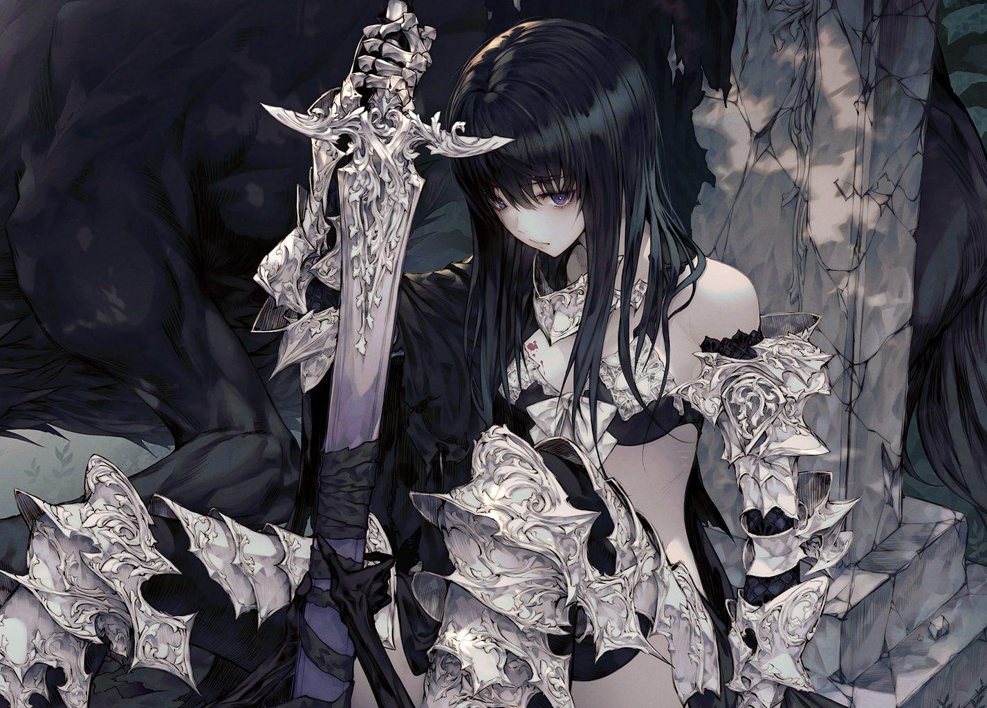 anime anime girls #sword dark hair fantasy girl #10P #wallpaper