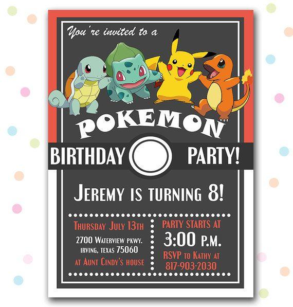 Pinkinks Diy Card Pokemon Birthday Party Pokemon Party Invitations Pokemon Invitations