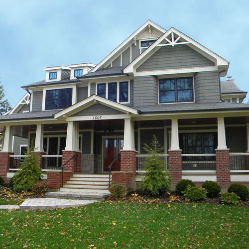 Bedroom Intruder Exterior Remodelling red brick and grey siding home design ideas, pictures, remodel and