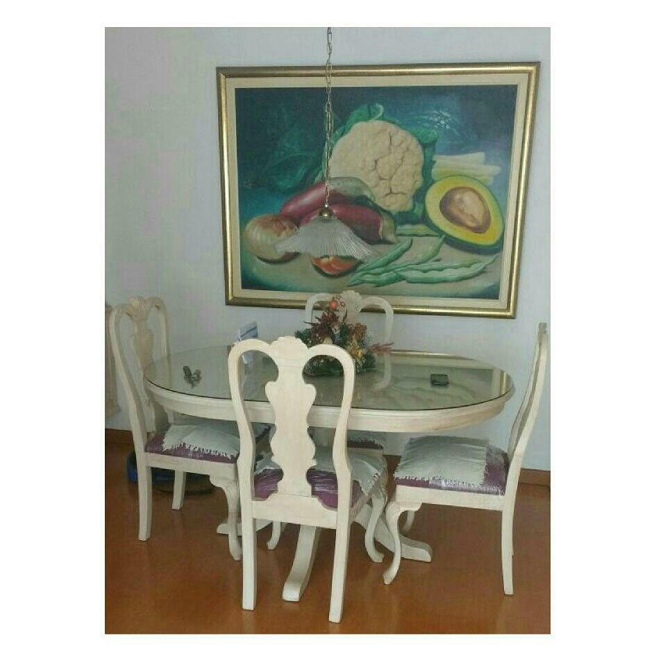 Juego De Comedor Y Sala Estilo Neocl Sico Color Envejecido  # Muebles Personalizados