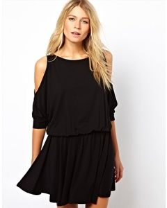 ASOS Skater Dress With Batwing Sleeve and Cold Shoulder