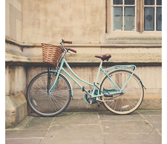 Mint Green Bicycle Photograph Cambridge Print European Travel