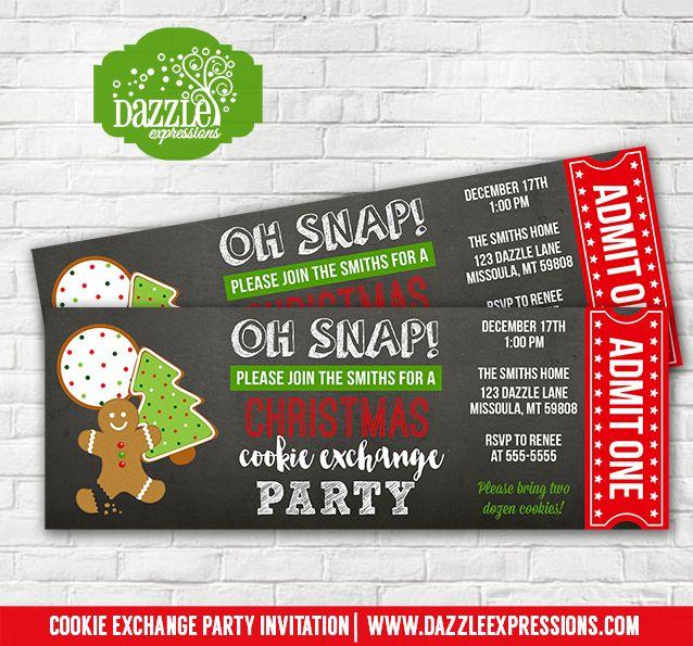 Printable Christmas Cookie Exchange Party Chalkboard Ticket
