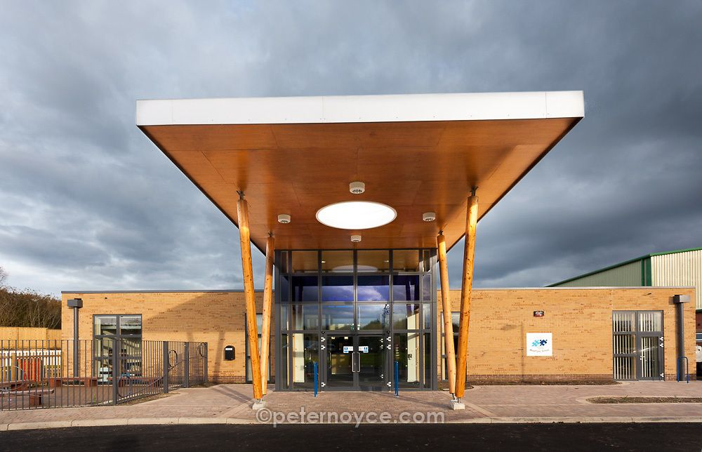 Modern architecture canopy forming the entrance to Mountjoy School Beaminister. & Modern architecture canopy forming the entrance to Mountjoy School ...