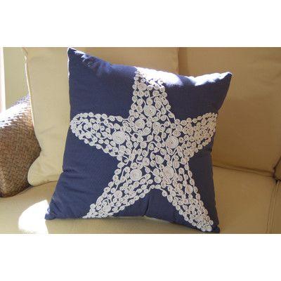 Emily Sea Star Embellished Cotton Throw Pillow Cover Embellished Pillows Throw Pillows Pillows