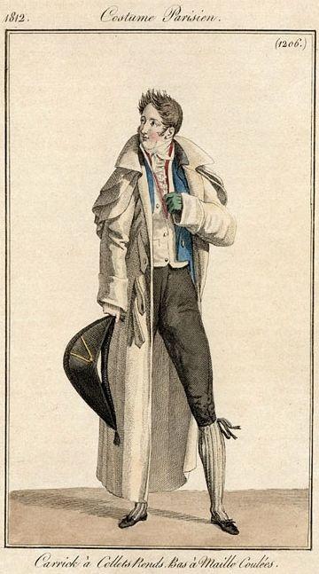 * Costume Parisien 1812 Carrick à collets ronds bas à maille coulées