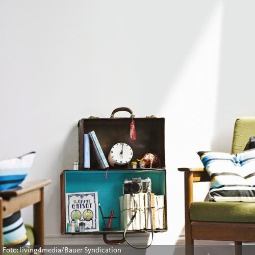 Vintage koffer sind tolle gegenst nde um f r kreative einrichtungsideen zweckentfremdet zu - Kreative wandregale ...