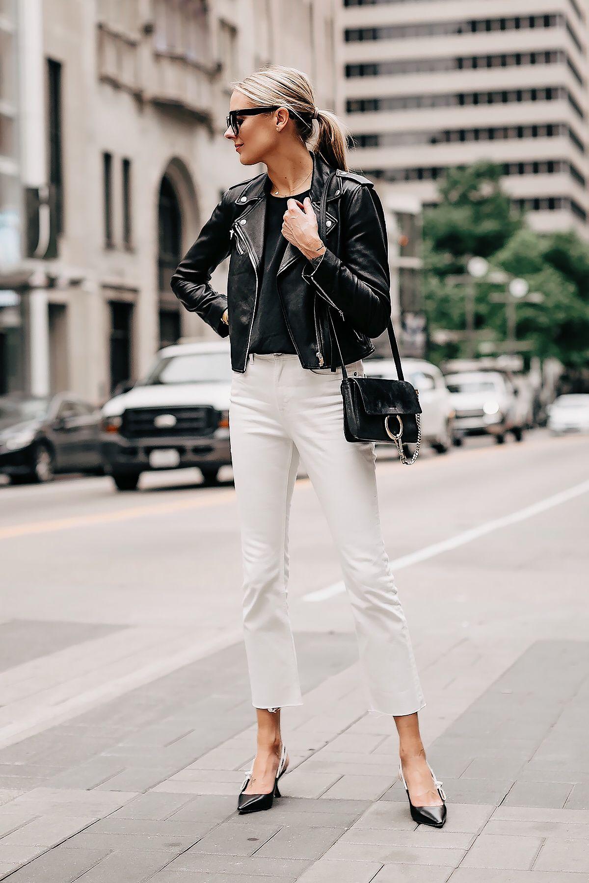 264c2d5daa826d Blonde Woman Wearing Black Leather Jacket Black Top White Cropped Jeans  Dior Slingback Heels Chloe Faye Black Handbag Fashion Jackson San Diego  Fashion ...
