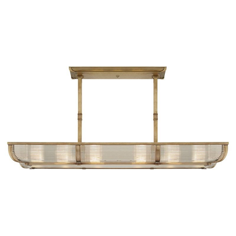 Perry Medium Linear Pendant in Natural Brass with White Glass ...