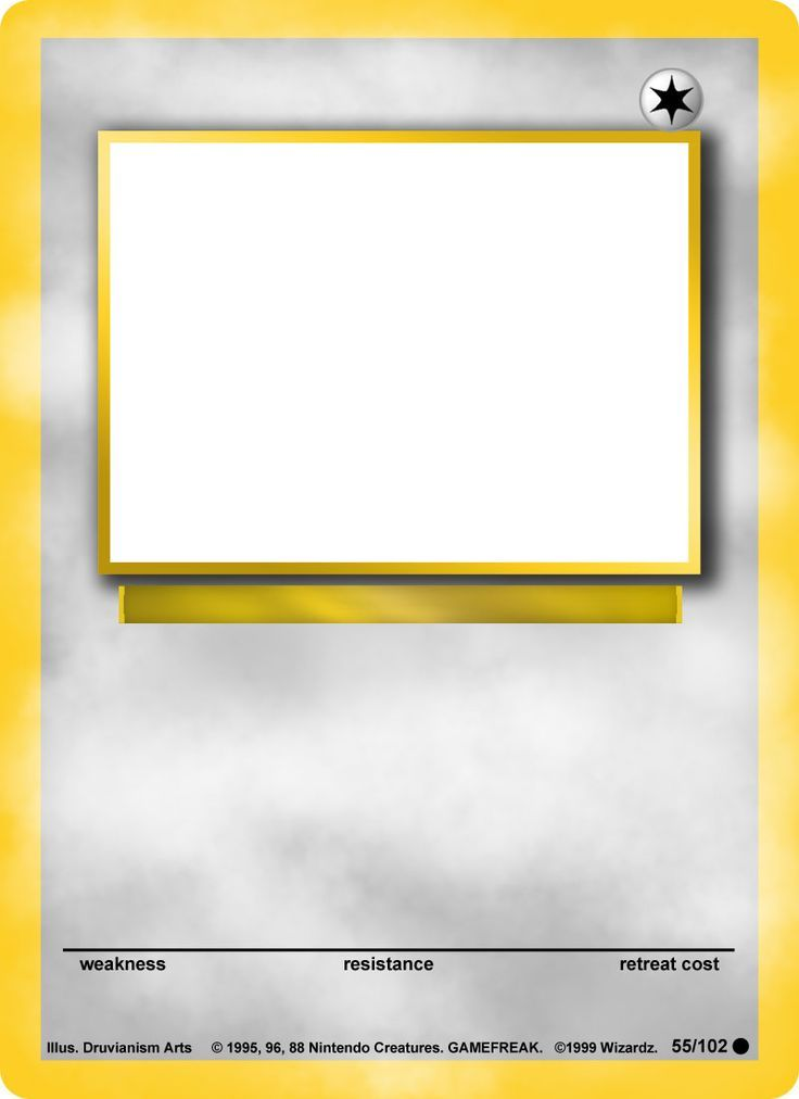 Blank Pokemon Card Template Blank Pokemon Card Mega  Invitation