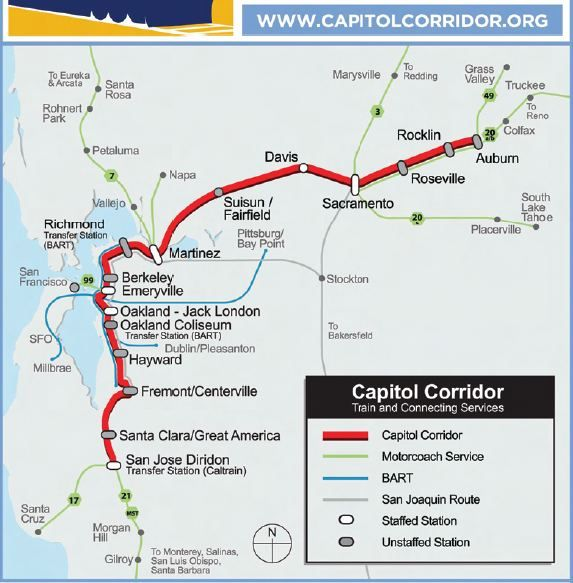 Capitol Corridor Map | Amtrak Capitol Corridor Route Map in ... on city of new orleans amtrak route map, northeast regional amtrak route map, amtrak cascades route map, lake shore limited amtrak route map, texas eagle amtrak route map, seattle amtrak route map, blue water amtrak route map, empire builder amtrak route map, amtrak acela route map, new england amtrak route map, united states amtrak route map, desert wind amtrak route map, silver star amtrak route map,
